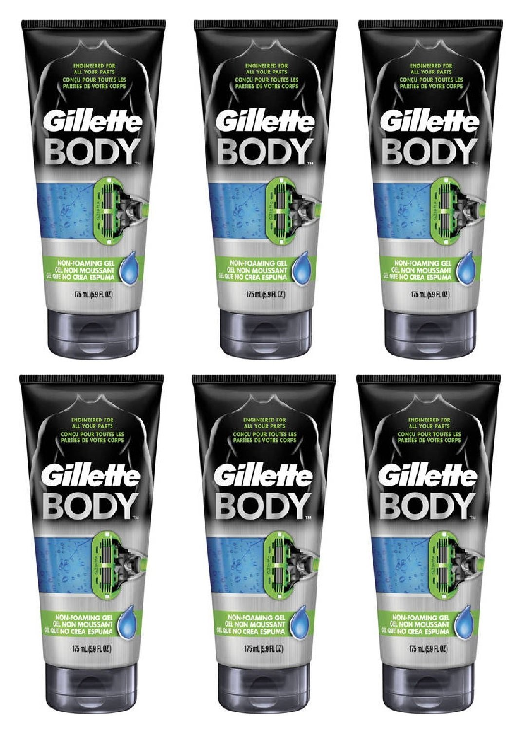 Gillette Body Non Foaming Shave Gel for Men, 5.9 Fl Oz (6 Pack) + FREE Luxury Luffa Loofah Bath Sponge On A Rope, Color May Vary