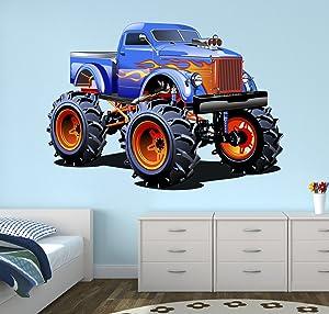 West Mountain Super Monster Truck Wall Decal Nursery Art Kids Bedroom Decor Vinyl Playroom Sticker Mural WM05 (14''W x 12''H)