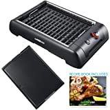 GoWISE USA GW88000 2-in-1 Indoor Grill and Griddle with Interchangeable Plates and Removable Drip Pan + 20 Recipes for Your Smokeless Electric Indoo, Large Black