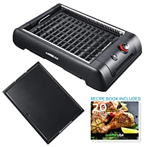 GoWISE USA 2-in-1 Smokeless Indoor Grill and Griddle with Interchangeable Plates and Removable Drip Pan + 20 Recipes for Your Smokeless Electric Indoor Grill Cookbook (Black)