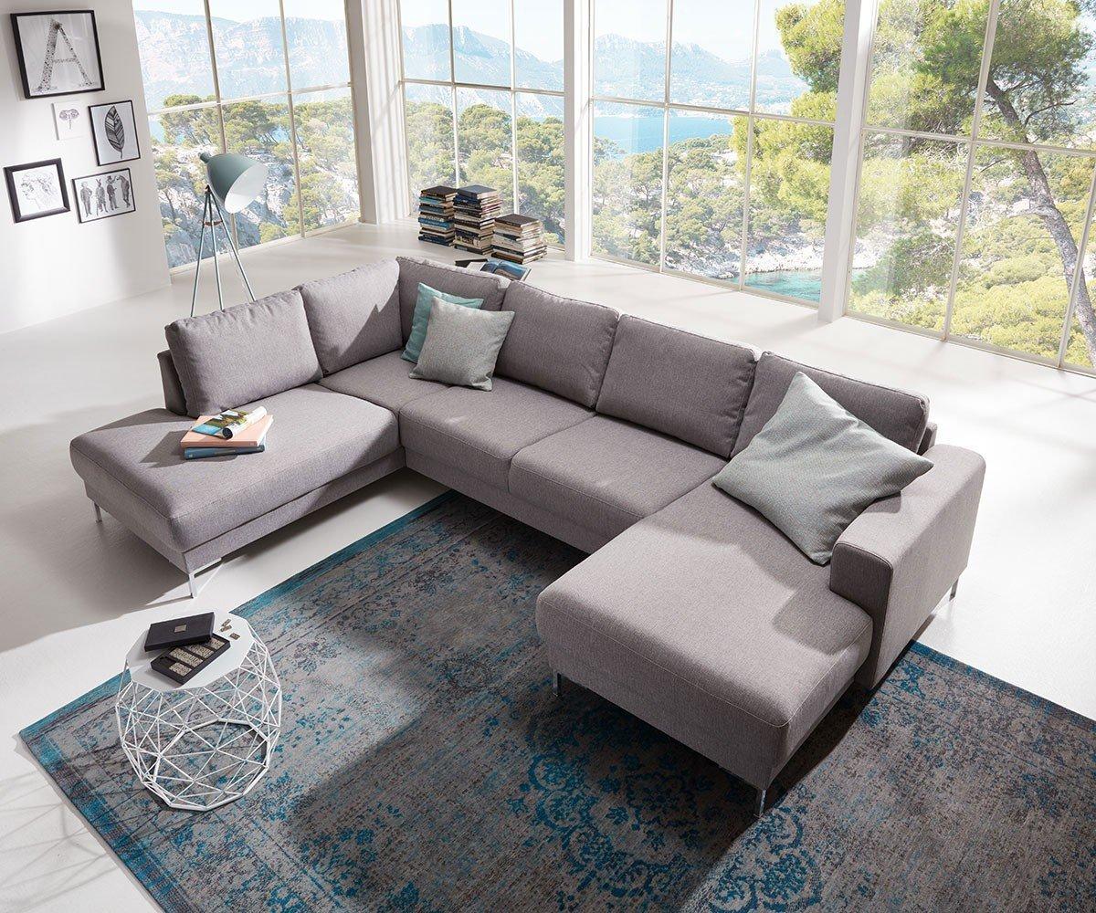 Couch Silas Grau 300x200 Cm Ottomane Links Designer Wohnlandschaft