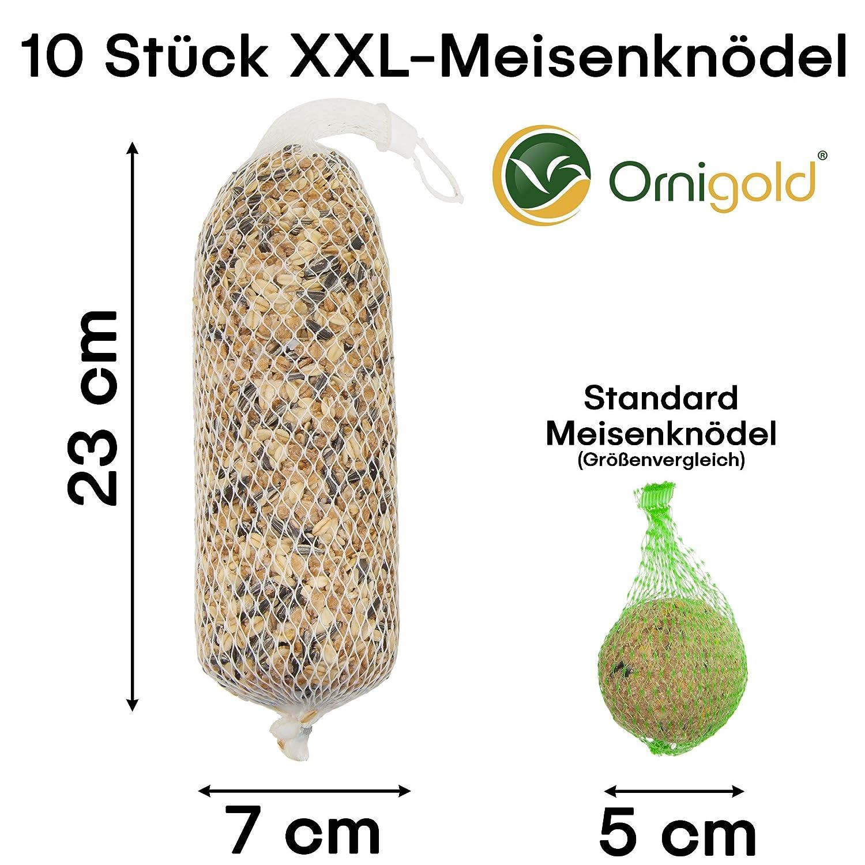 Ornigold 10 Premium Meisenknödel XXL mit Netz Deluxe Futterstangen für Vögel und Wildvögel als Ganzjahresfutter …