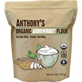 Anthony's Organic Arrowroot Flour, 4 lb, Batch Tested Gluten Free, Non GMO, Vegan