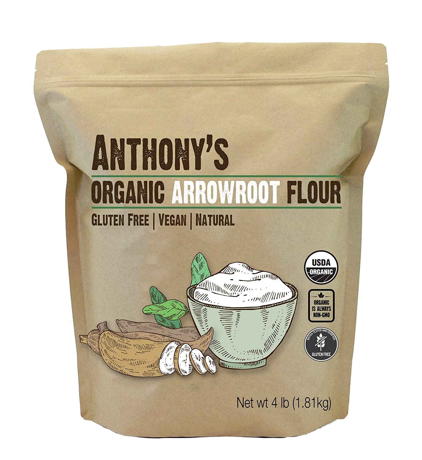 Anthony's Organic Arrowroot Flour, 4 lb, Batch Tested Gluten Free, Non GMO