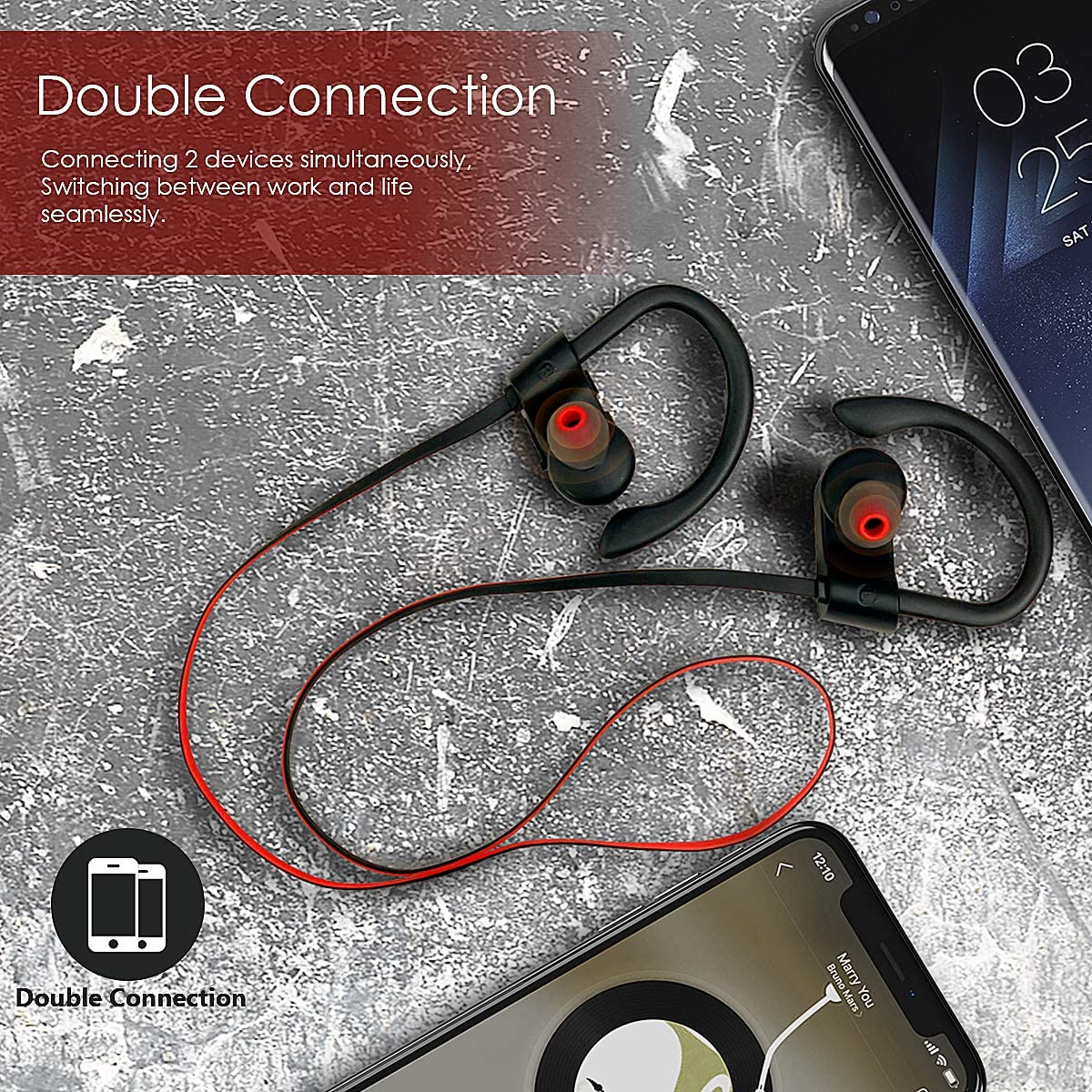 Bluetooth Headphones, Wireless Headphones Waterproof IPX7 Headsets for Workout, 9 Hours Playing Time HD Stereo Earbuds, Sports Earphones with Microphone, Black