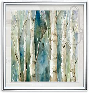 Renditions Gallery River Birch I by Carol Robinson Forest Canvas Wall Art Tree Artwork Framed Giclee Prints Home Decor Painting, 24 x 24, Silver