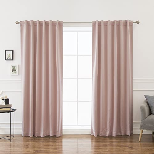 Best Home Fashion Thermal Insulated Blackout Curtains – Back Tab Rod Pocket – 52 W x 96 L – Dusty Pink Set of 2 Panels