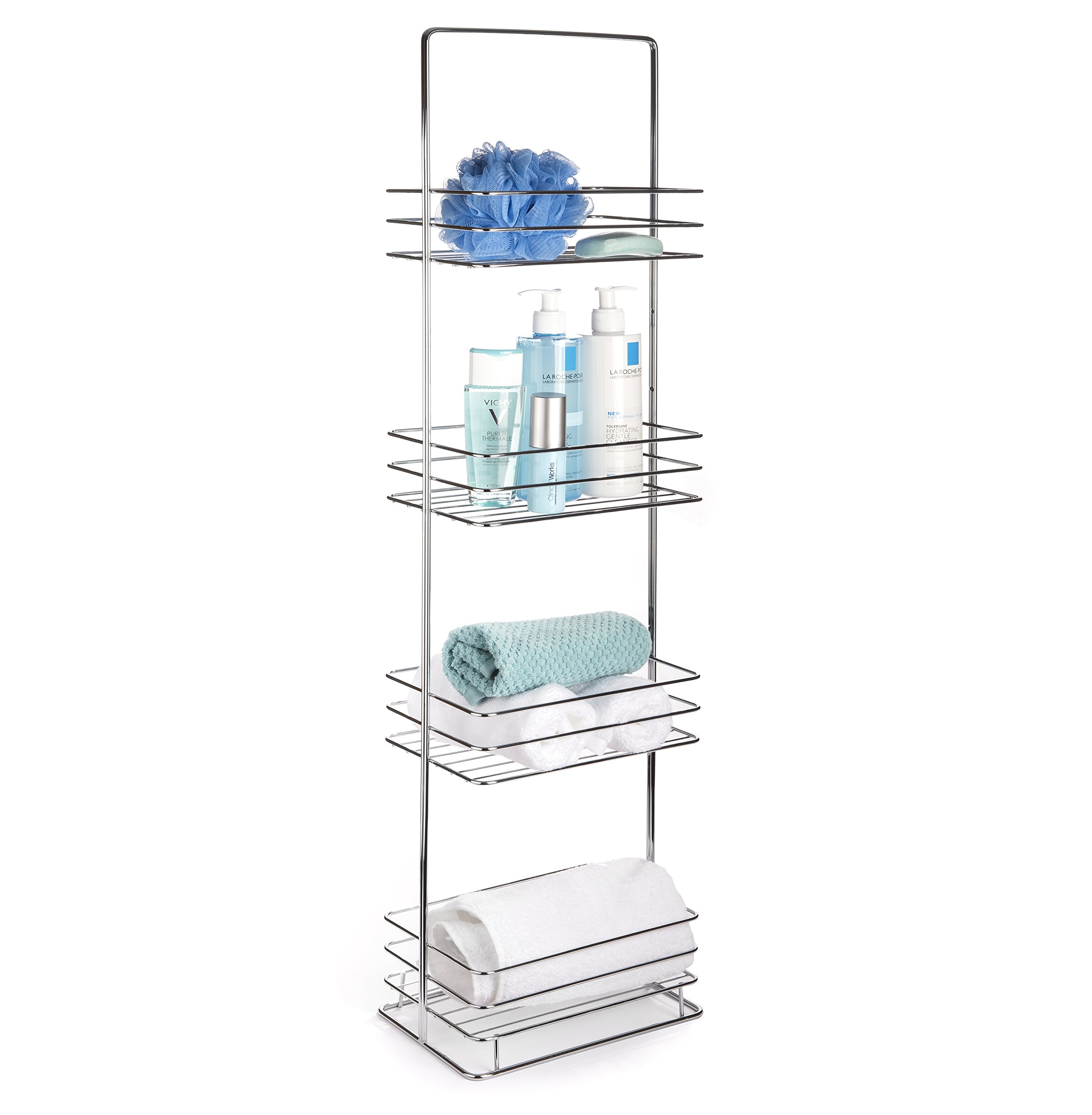 AMG and Enchante Accessories Free Standing Bathroom Spa Tower Storage Caddy, FC100002 CHR, Chrome
