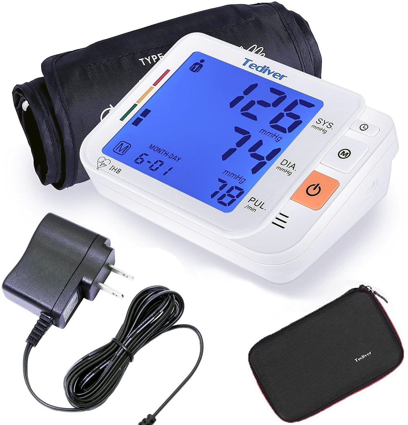 Tediver Digital Blood Pressure Monitor, Large Cuff 0.7-1.3 Feet – Automatic Upper Arm Blood Pressure Cuff Sets with Adapter and Device Case, Backlight LCD screen, 2 Year Warranty