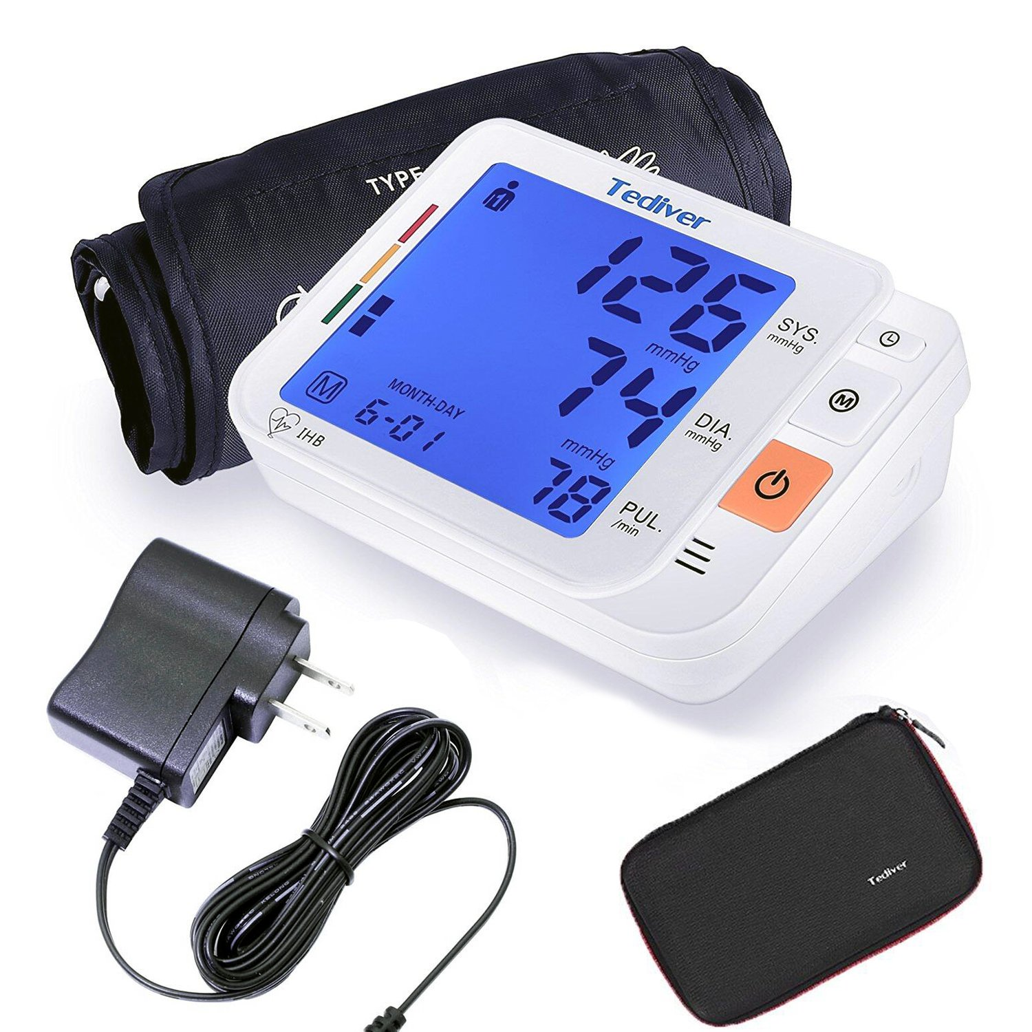 Tediver Digital Blood Pressure Monitor, Large Cuff 22-42cm - Automatic Upper Arm Blood Pressure Cuff Sets with Adapter and Device Case, Backlight LCD screen, 2 Year Warranty