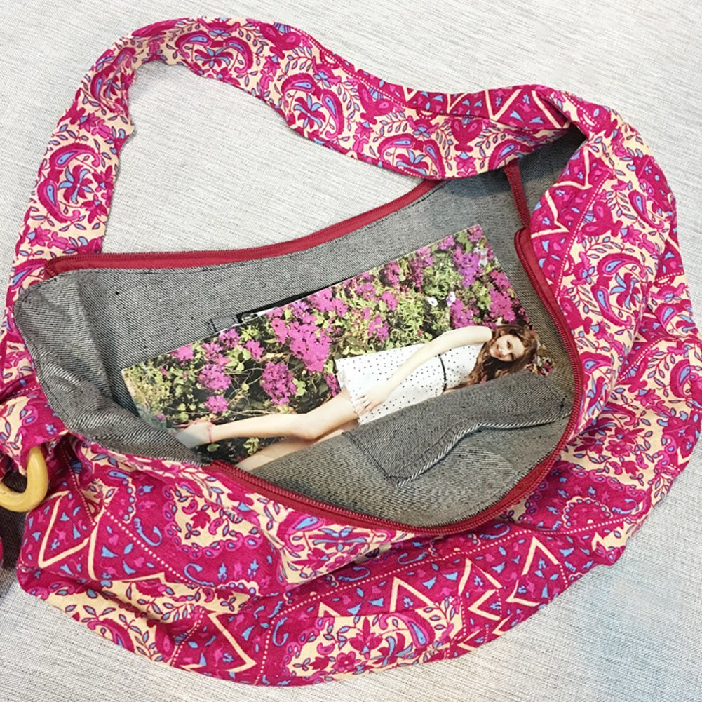 KARRESLY Large Bohemian Hippie Thai Top Zip Handmade Hobo Sling Crossbody Bag Purse Paisley Print with Adjustable Strap(6-856) by KARRESLY (Image #4)