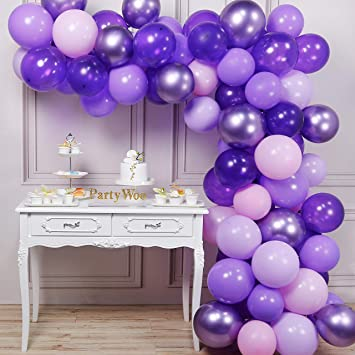 PartyWoo Purple Balloons, 70 Pcs 12 Inch Pastel Purple Balloons, Lilac Balloons, Violet Balloons, Purple Metallic Balloons for Purple Party ...