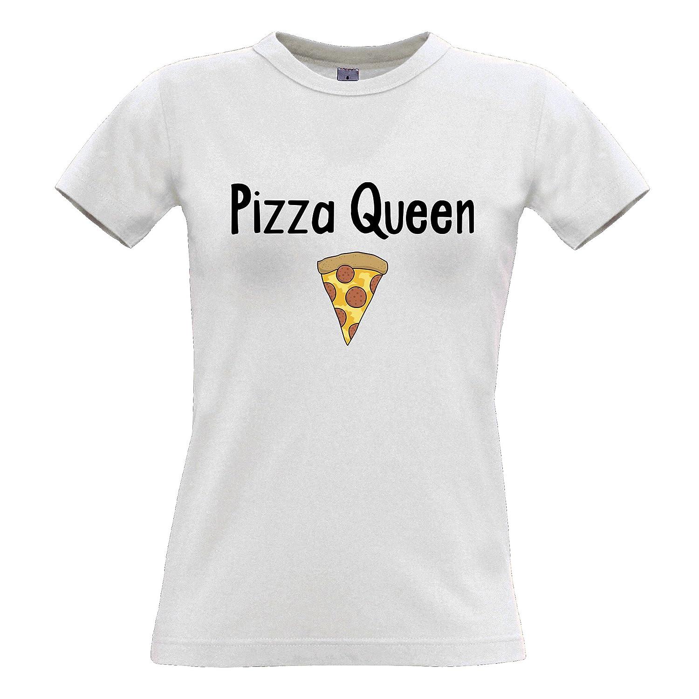 Funny Food Womens Tee Pizza Queen Slogan Slice