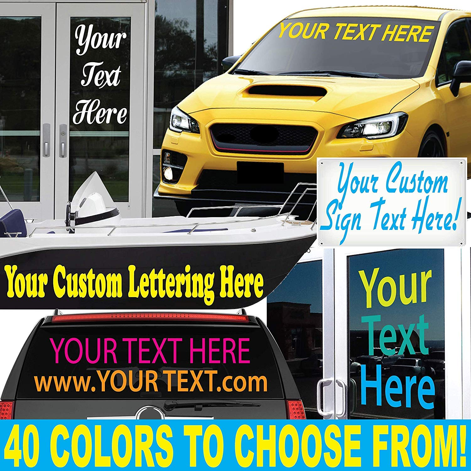 Amazon com 1060 graphics 4 high by up to 48 long custom vinyl lettering sold per line letters numbers text decal for auto boat door window sign more