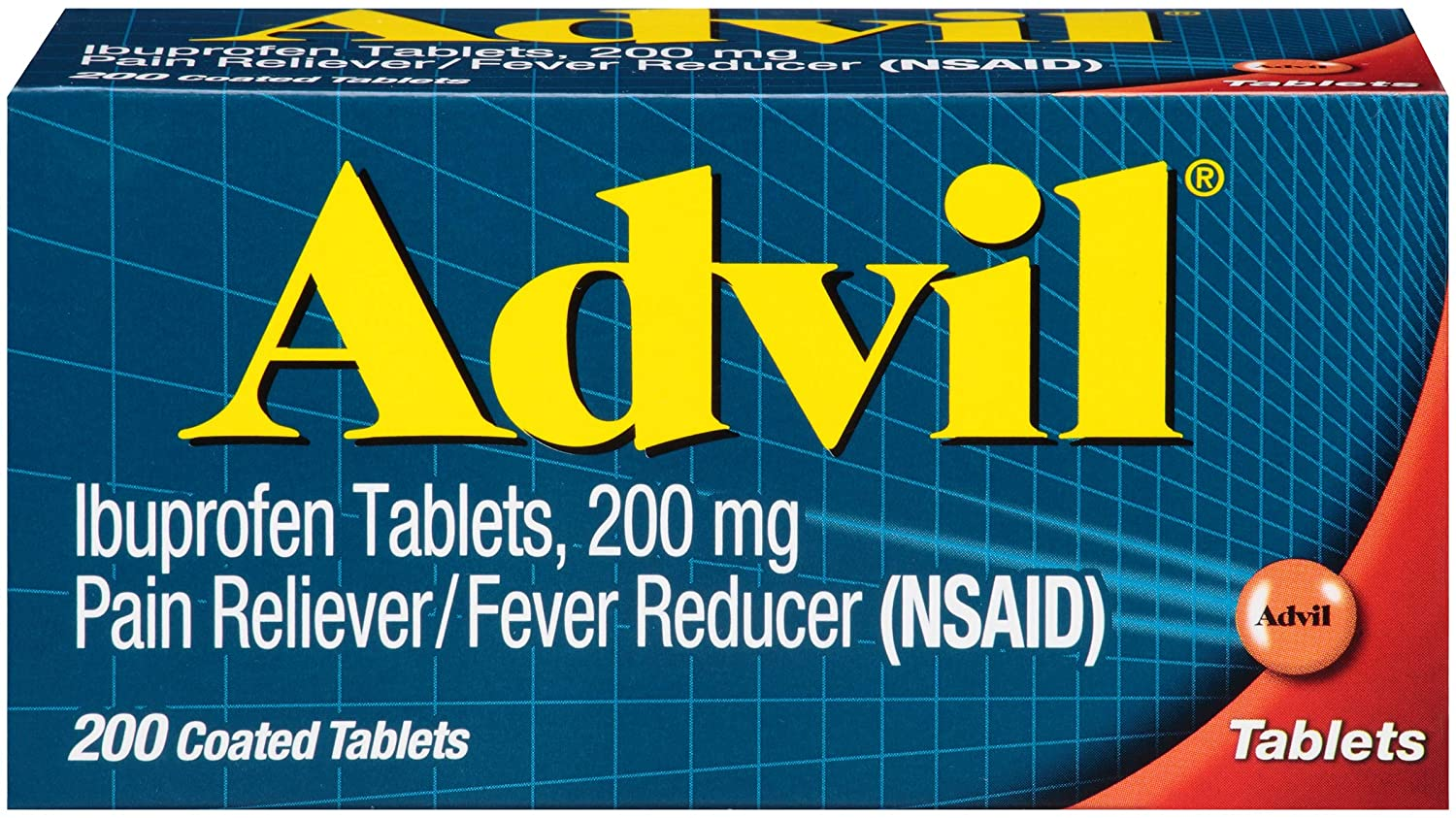 Advil Coated Tablets Pain Reliever and Fever Reducer, Ibuprofen 200mg, 200 Count, Fast-Acting Formula for Headache Relief, Toothache Pain Relief and Arthritis Pain Relief