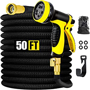 Garden Hose, EPN Expandable 50ft Water Hose with 10 Function Nozzle, Durable 4-Layers Latex, Leakproof Expanding Flexible with Solid Brass Fittings, Extra Strength Fabric, Lightweight Expanding Hose