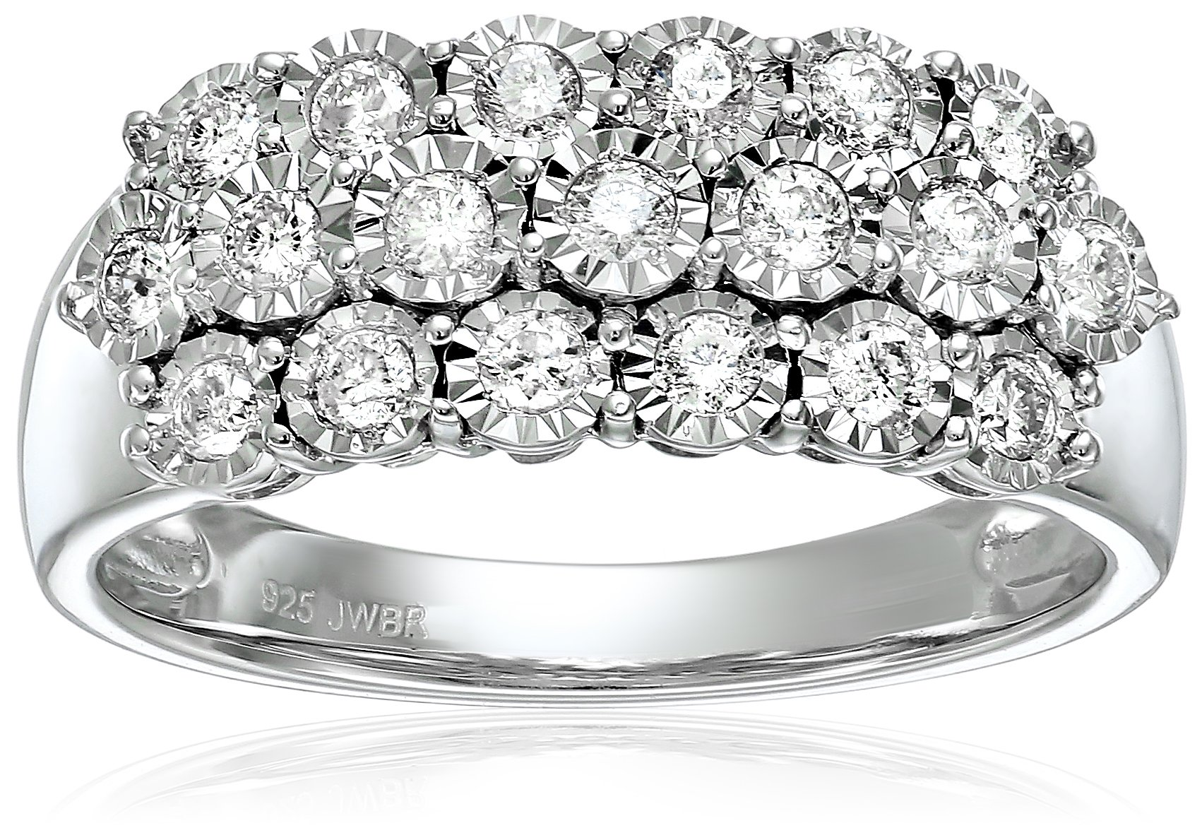 Sterling Silver with Miracle Plate Diamond Three row Anniversary Ring (1/2cttw), Size 7