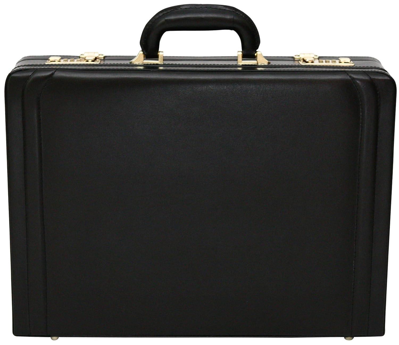 Tassia- Aktenkoffer/Attaché koffer mit Dehnfalte - Luxuriö ses Leder - Schwarz