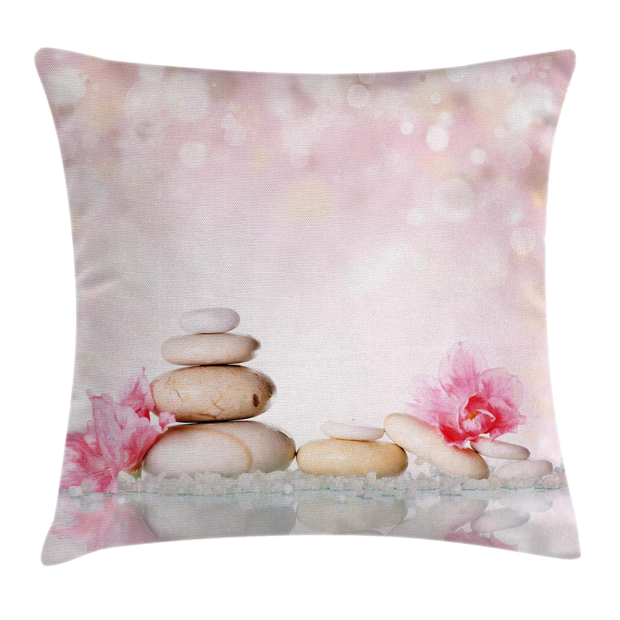 Ambesonne Spa Throw Pillow Cushion Cover, Bohemian Zen Stones and Soft Petals Therapy Tradition Chakra Yoga Asian Picture, Decorative Square Accent Pillow Case, 16 X 16 Inches, Light Pink Peach