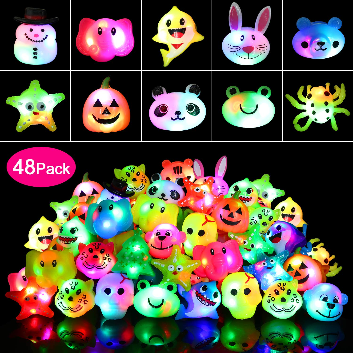 wellvo 48 Pack Light up Rings Party Favors for Kids Flashing Led Toys Glow in The Dark Party Supplies by wellvo