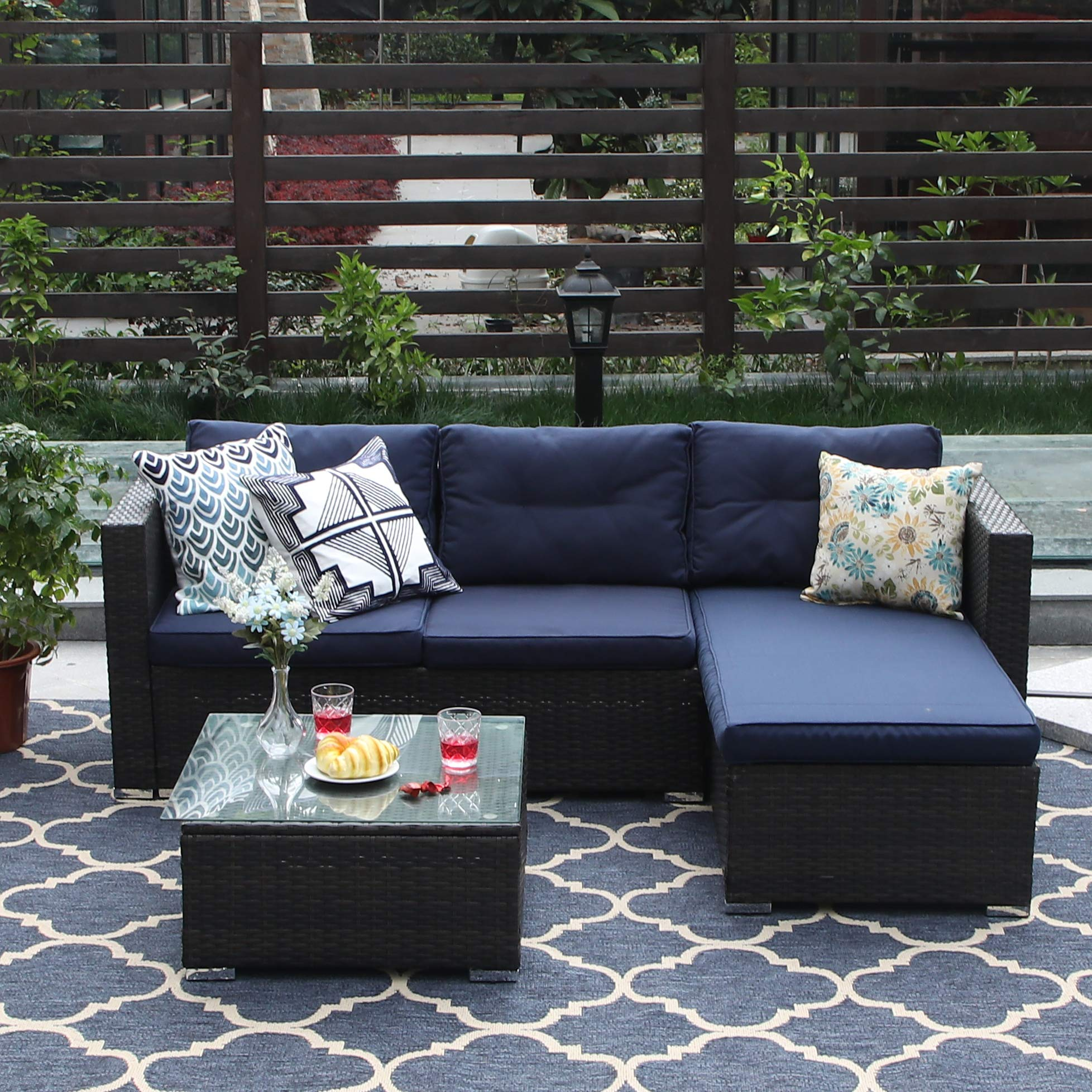 PHI VILLA 3-Piece Patio Furniture Set Rattan Sectional Sofa Wicker Furniture, Blue