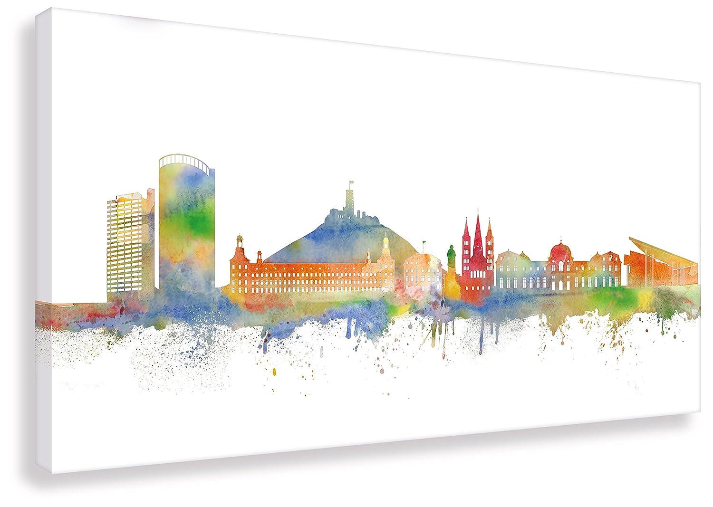 Kunstbruder Wandbild - Bonn Skyline Weiß (Div. Größen) - Kunst Druck auf Leinwand Graffiti Streetart Panorama Loftbild (60x120cm)