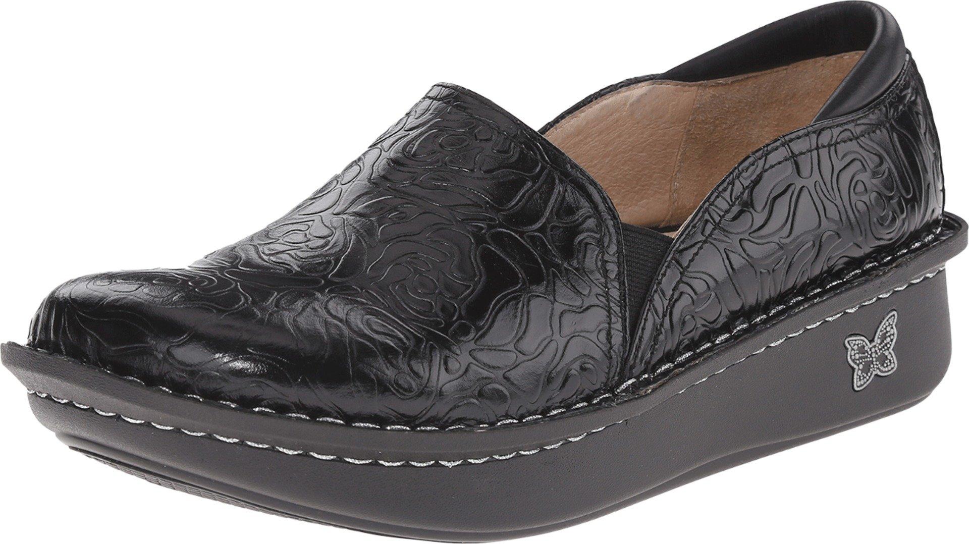 Alegria Women's Debra Professional Black Emboss Rose Leather Clog/Mule 37 (US Women's 7-7.5) Wide