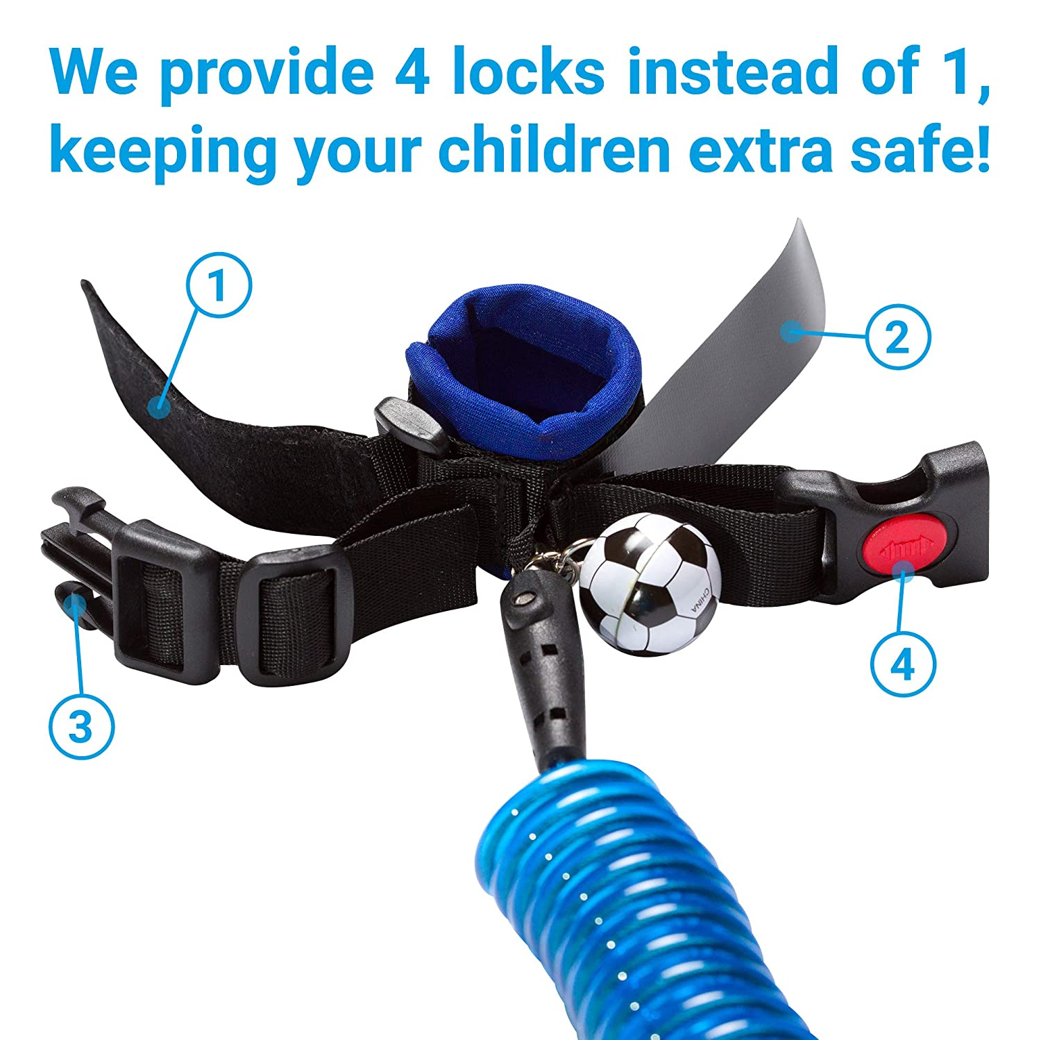 Wrist Leash for Kids Child Safety Wristband Toddler Harness Leashes Blue Baby Anti Lost Wrist Link
