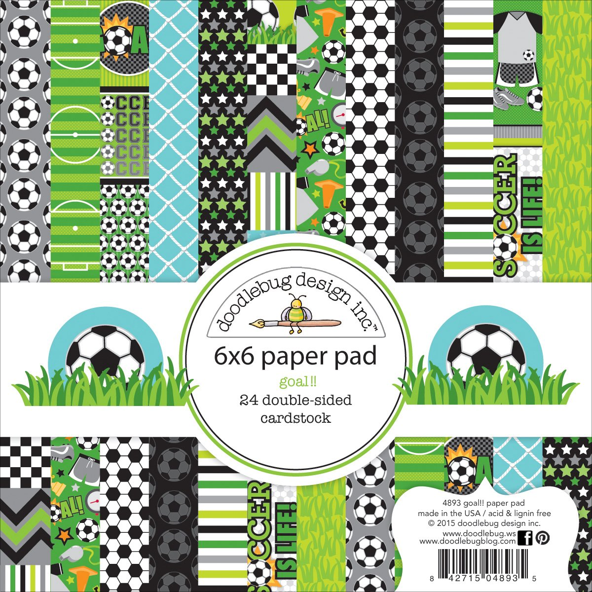 Doodlebug Double-Sided Paper Pad 6x6 24/Pkg-Goal!! by DOODLEBUG B0164PQA6M