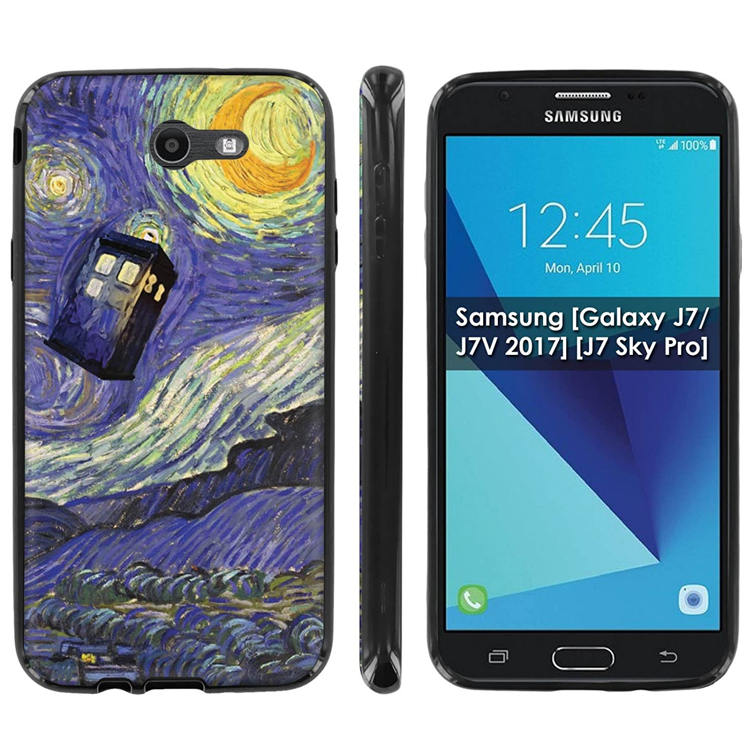 Amazon Samsung [Galaxy J7 J7V 2017] [J7 Sky Pro] Soft Mold [Mobiflare] [Black] Thin Gel Protect Cover [Stary Night Doctor] for Galaxy J7 [2017] [5 5""