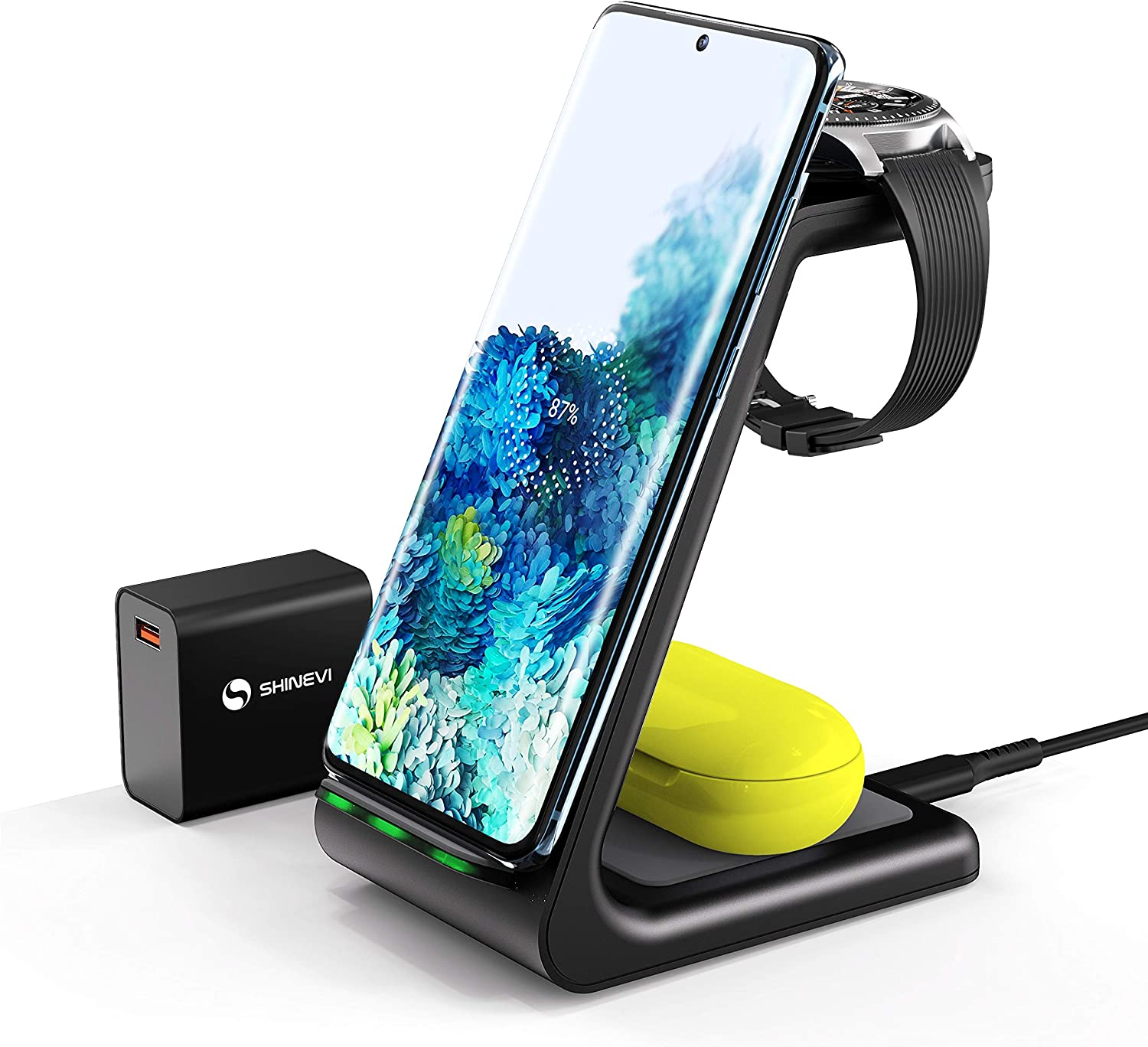 SHINEVI Wireless Charger 3 in 1 Charger Stand Qi-Certified 10W Fast Charging Station Compatible with iPhone 11 Series/XS/XR/X/8/8 Plus,Samsung Galaxy S20 S10 S9 S8,Airpods Pro,Galaxy Watches and Buds
