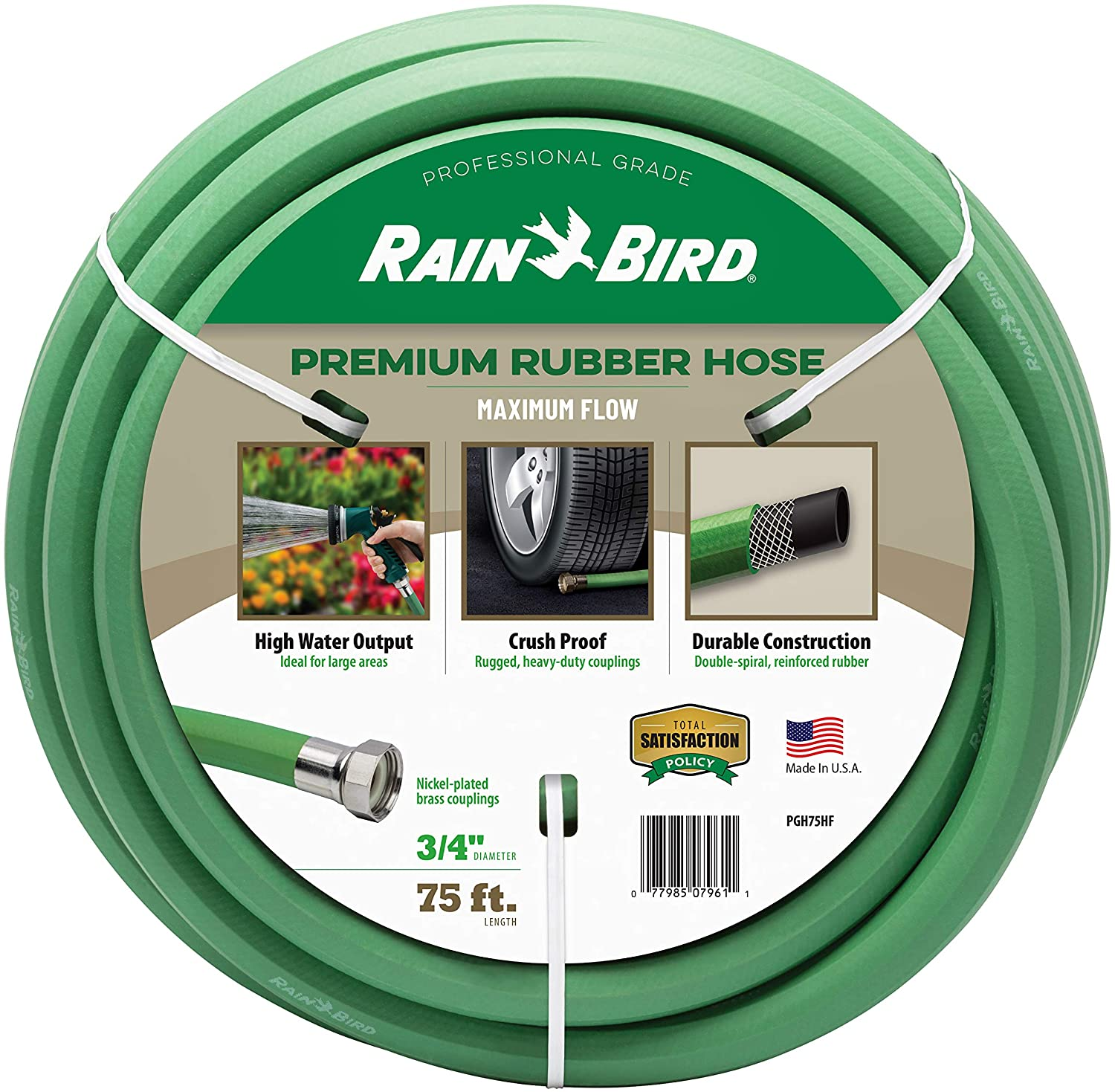"Rain Bird PGH75HF Premium High-Flow Garden Hose, Heavy-Duty 100% EDPM, 3/4"", Green"