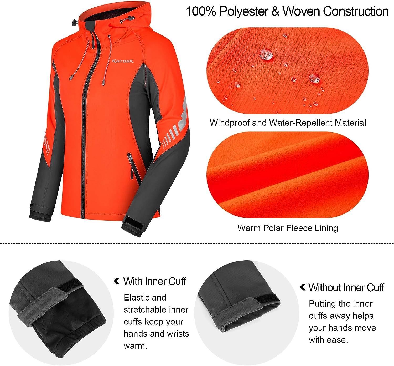KUTOOK Windproof Water Resistant Thermal Fleece Reflective SoftshellJacket with Hood Hiking Running Coat for Women