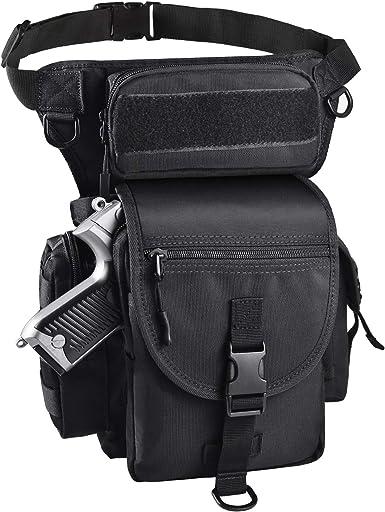 LarKoo Tactical Drop Leg Bag with Pistol Holster - Leg Panel Thigh Leg Waist Bag Fanny Pack Multipurpose Carry Concealed Gun Ammo Pouch for Handgun Shooting Range Sport