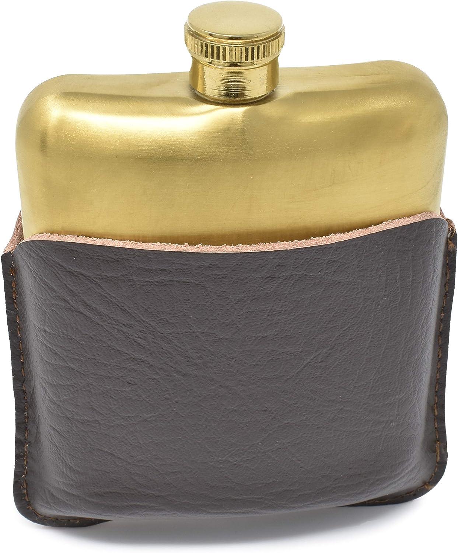 Frasco para el Licor 6 Onzas de Acero Inoxidable y Cuero Marrón Oscuro, Frasco Dorado a prueba de Fugas con Embudo para Hombres y Mujeres