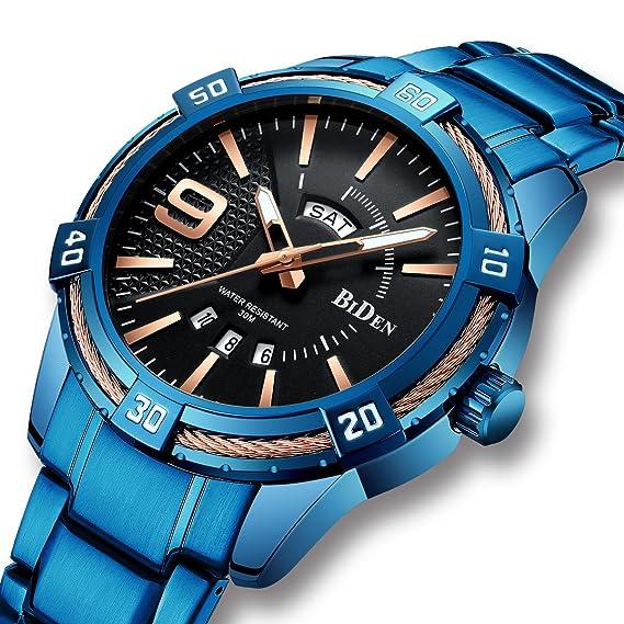 Relojes Azules para Hombre Reloj Luminoso Impermeable de Acero Inoxidable para Hombres Día Fecha Calendario Analógico