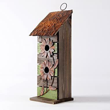 Glitzhome 14.45  H Wooden Garden Bird House Hanging Two-Tiered Distressed with Flowers