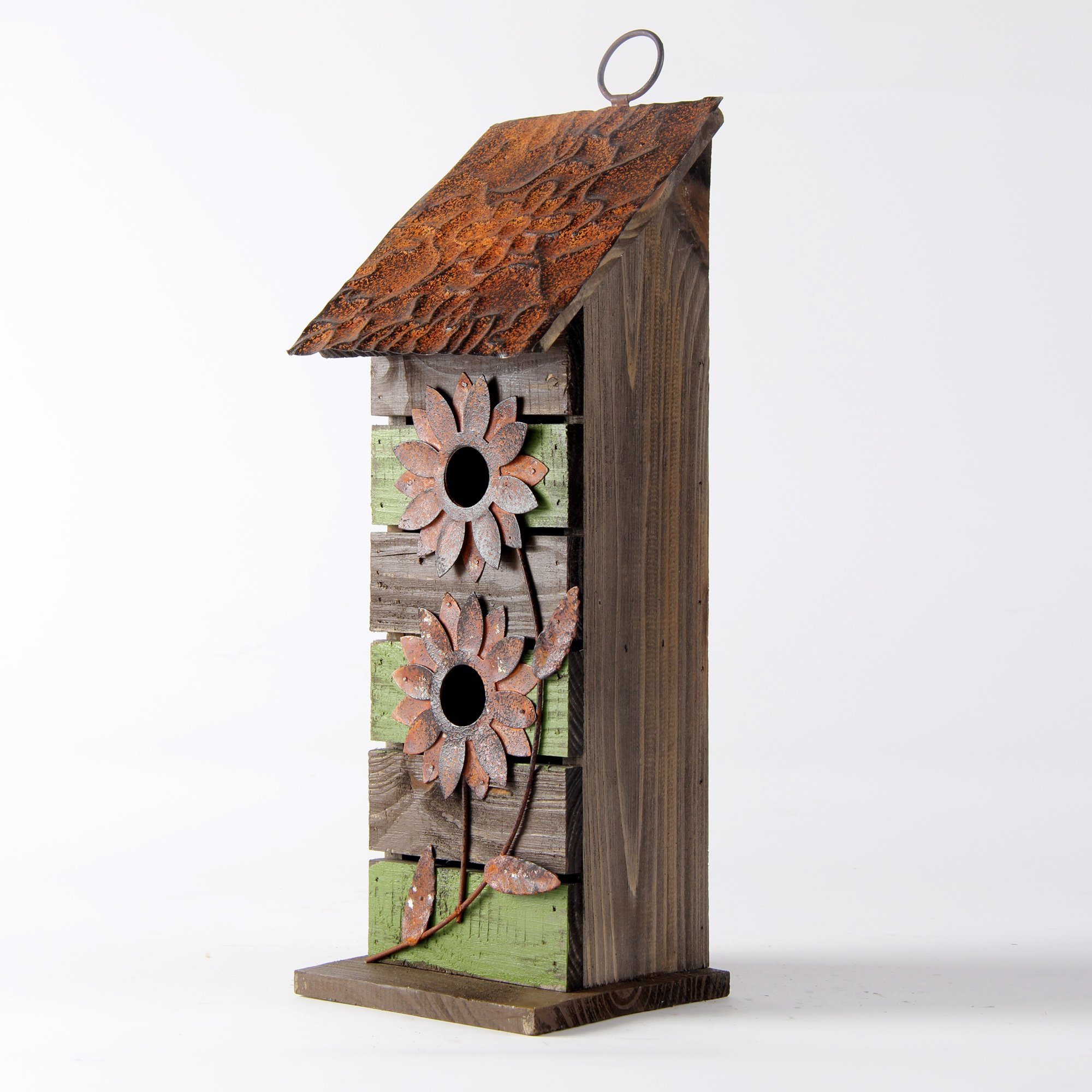 Glitzhome 14.45''H Wooden Garden Bird House Hanging Two-Tiered Distressed With Flowers