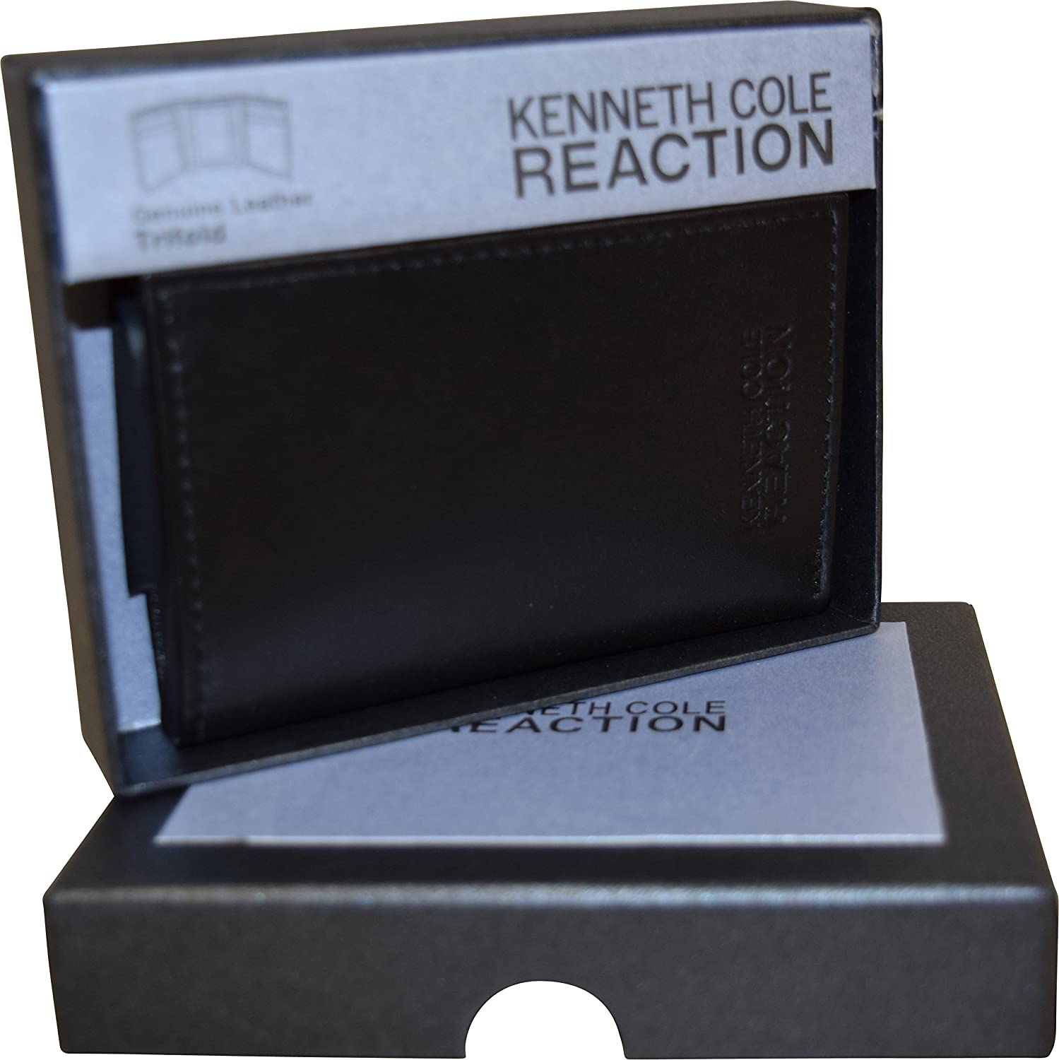 Kenneth Cole Reaction Mens Genuine Leather Trifold Wallet With Gift Box-Black at Amazon Mens Clothing store:
