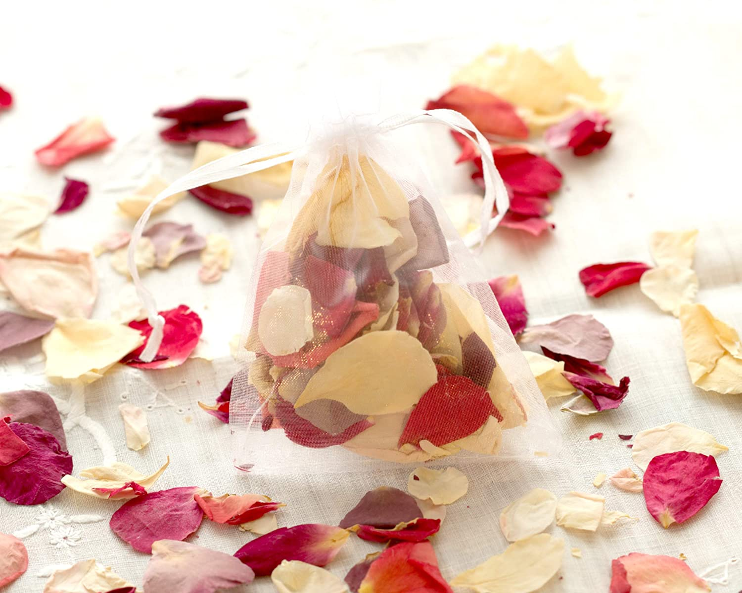 20 MINI WEDDING RED & IVORY ROSE PETAL BIODEGRADABLE CONFETTI HAND-FILLED ORGANZA BAGS 8X6 - Ideal For Weddings & Flower Girls - UK FLORIST The Flower Studio