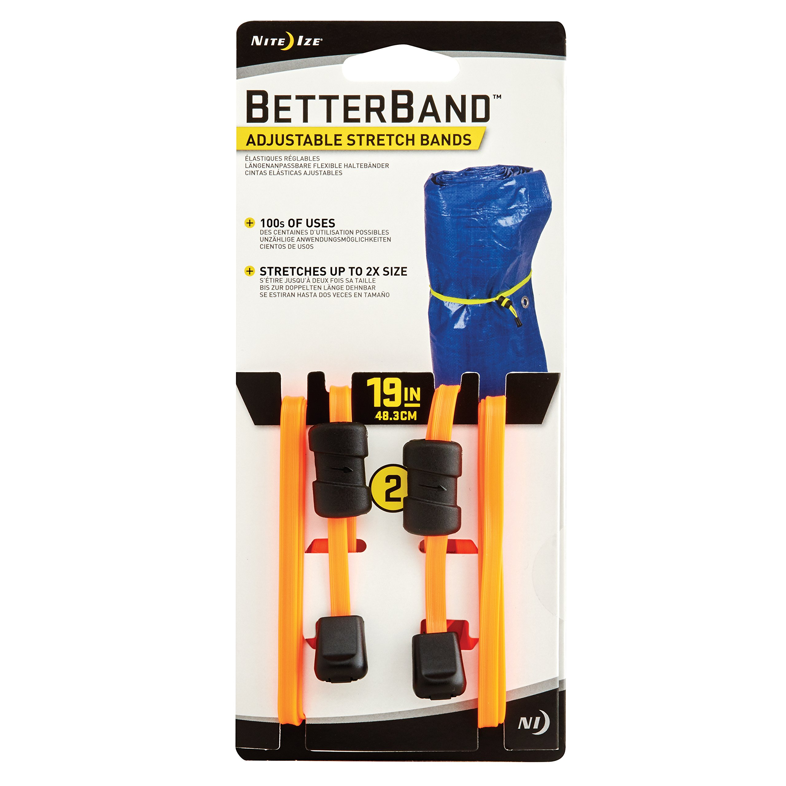 Nite Ize BetterBand, Adjustable Stretch Band With Cord Lock, 19-Inch, Bright Orange