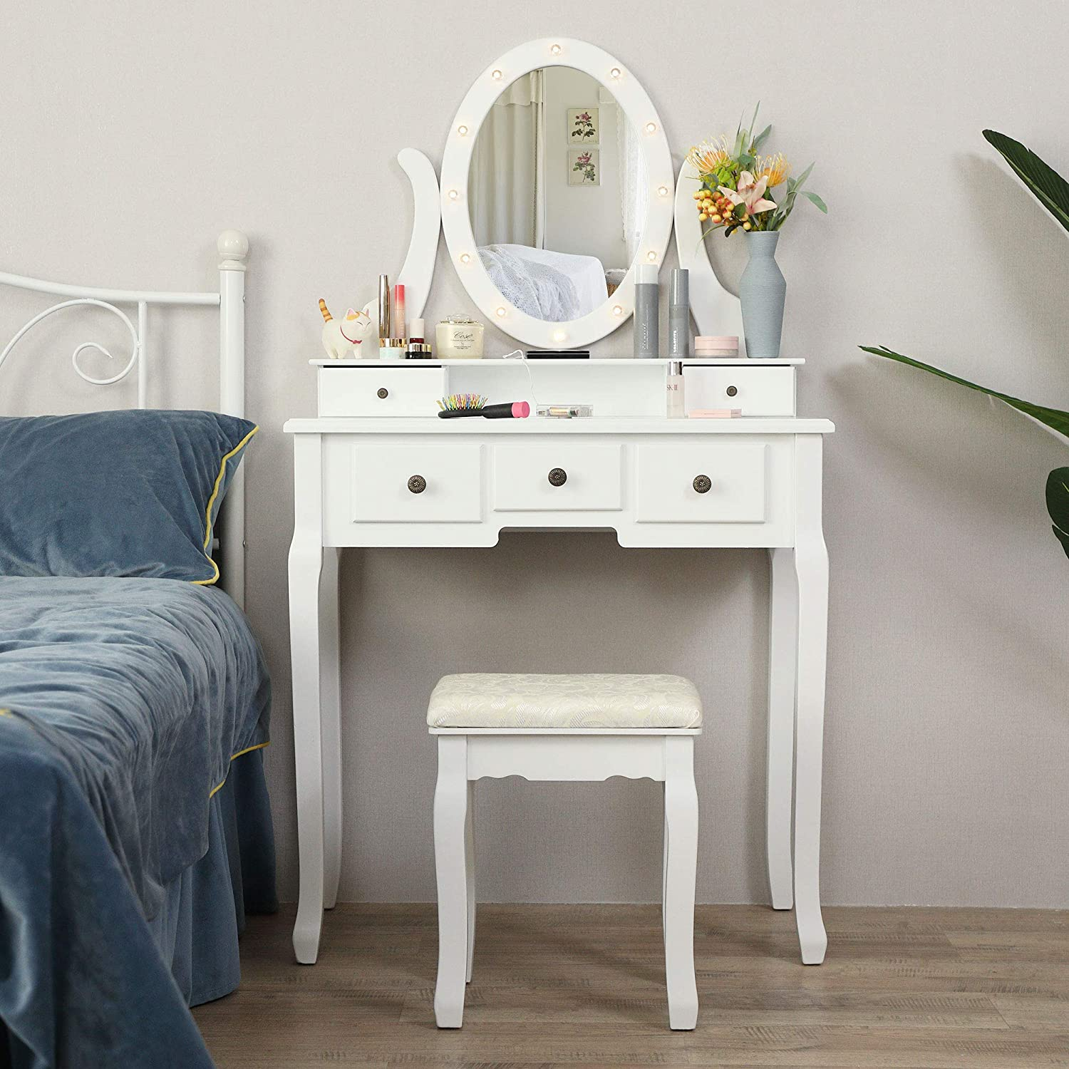 JAXSUNNY Vanity Table Set w/ 12 LED Bulbs & Cushioned Stool, Makeup Dressing Table w/Lighting Mirror & 5 Drawers, Removeable 360° Rotating Mirror, Modern Writing Desk for Home Bedroom, White