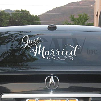Amazoncom Just Married X Vinyl Lettering Wall Decal Sticker - Cool car decals designpersonalized whole car stickersenglish automotive garlandtc