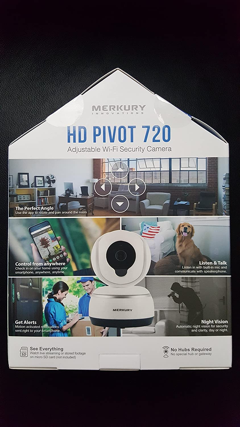 Amazon.com: Merkury Innovations HD Pivot 720 Adjustable Wi-Fi Security Camera: Home Improvement