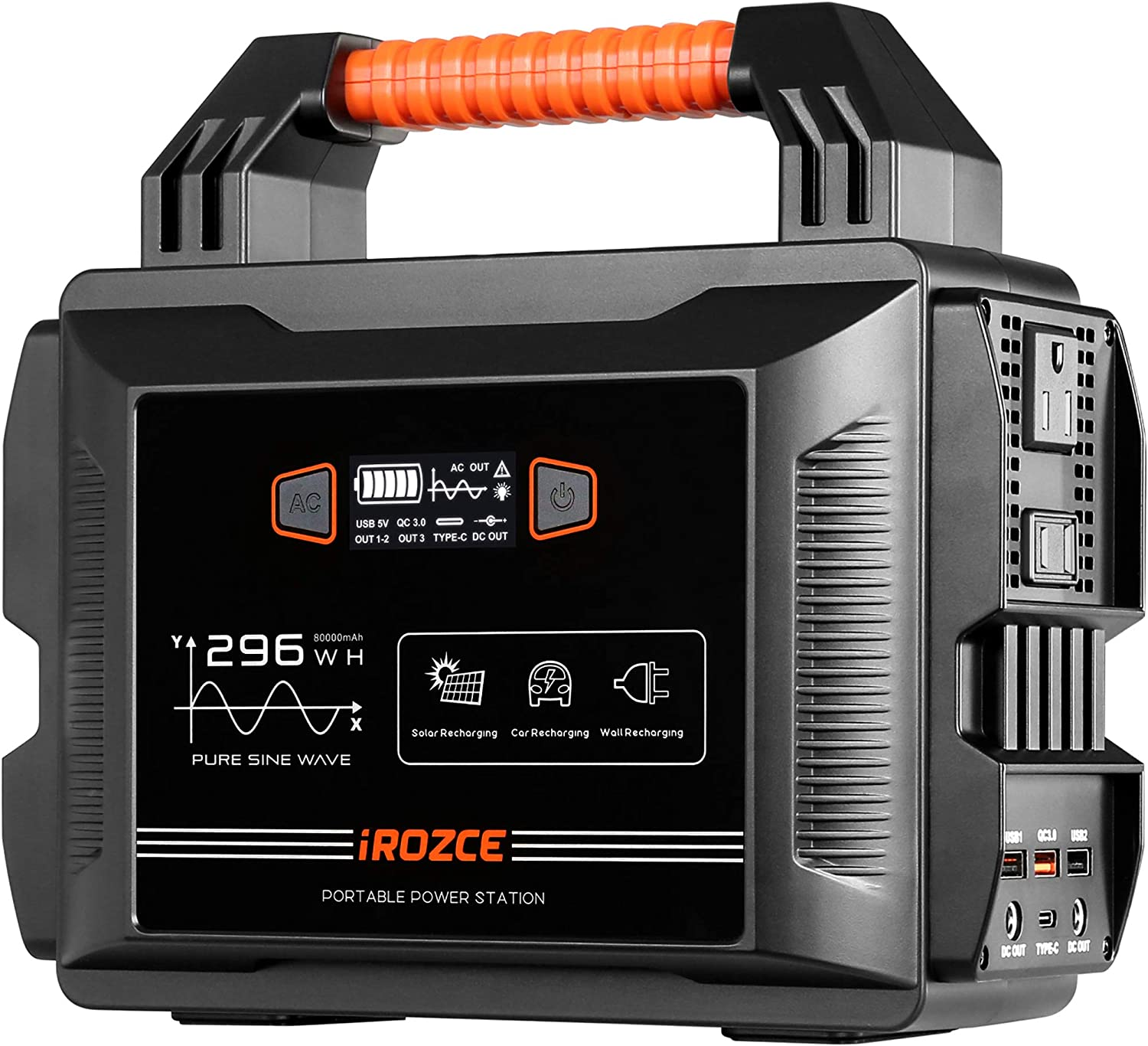 iRozce 300W Portable Power Station, 296Wh Solar Generators with 80000mAh Lithium Battery, CPAP Backup Power Supply with 110V Pure Sine Wave AC Outlet, QC 3.0& Type C, Flashlight for RV, Emergency (Grey-300W)