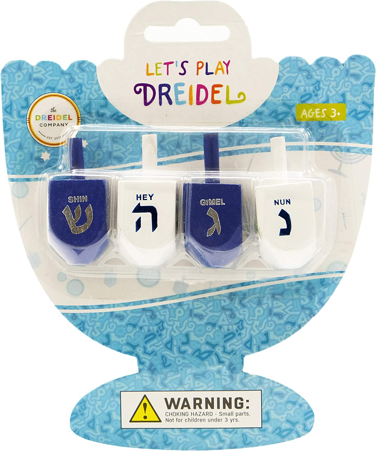 Made of Thick Card Stock and Printed in Silver Foil and Chanuka White and Sky Blue Colors for Hours of Fun Set of 3 Dreidels Assembly Instructions and Straws Included Clearstory Hannuka Dreidel