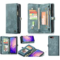 Oppo AX5s Luxury Retro Leather Wallet Case Suede Finish Multi Cards Cash Pockets & Zipper??Blue