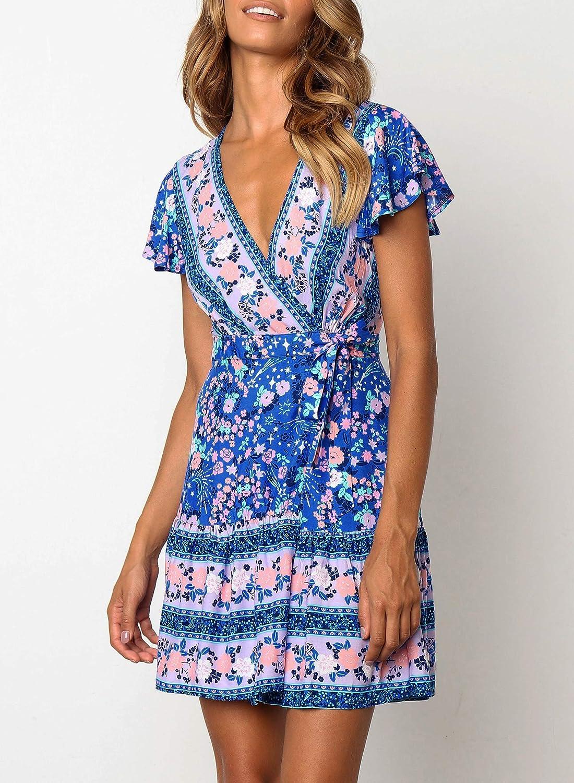 f0c0ad632f ZESICA Women's Summer Wrap V Neck Bohemian Floral Print Ruffle Swing A Line  Beach Mini Dress