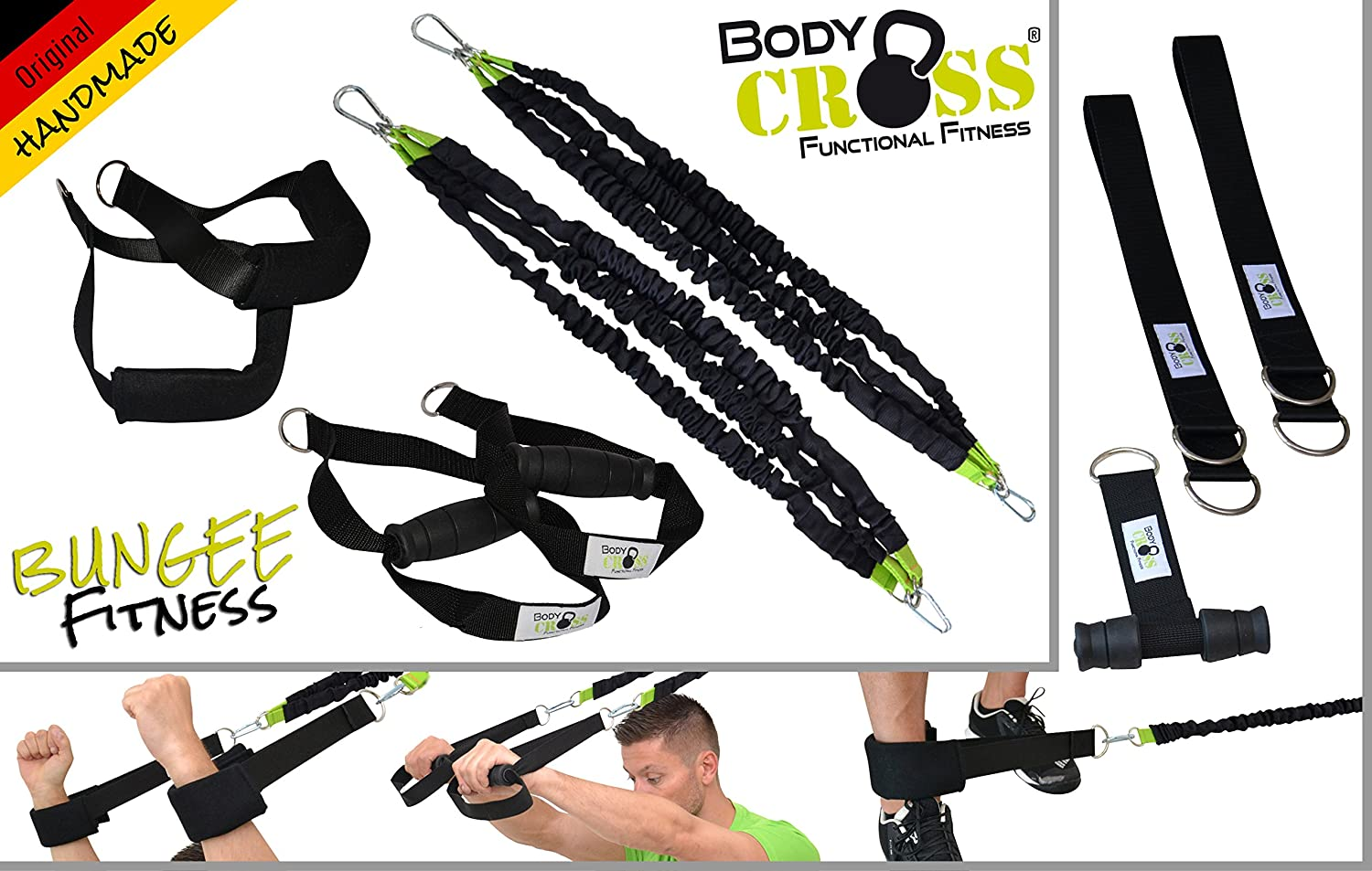 BodyCROSS Bungee Trainings System   Widerstandstrainer inkl. Übungsanleitung   Made in Germany