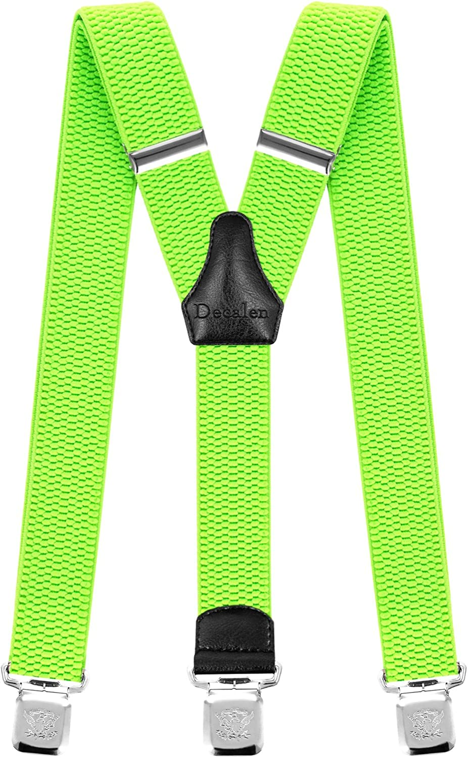 Decalen Mens Braces with Very Strong Clips Heavy Duty Suspenders One Size Fits All Wide Adjustable and Elastic Y Style Green Neon